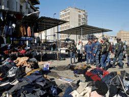 Site of a twin suicide bombing attack in a central market in Baghdad,